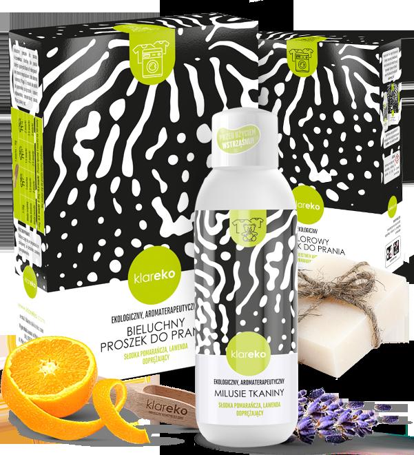 naturalne ekologiczne środki czystości zestaw przyjaciele prania aromat pomarańczowo lawendowy klareko